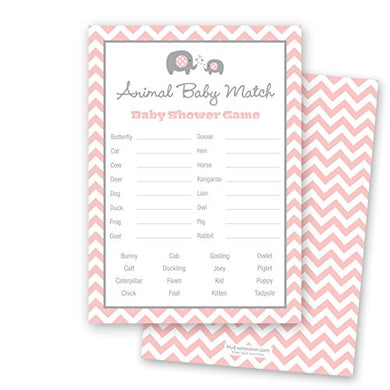 24 Chevron Elephant Baby Shower Animal Name Game Cards (Pink)
