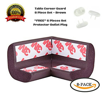 Corner Guards, Baby Bumpers, Furniture Corner Protector, 3M Tape, 8Pc, + Gift 6 Lock Plug Baby Safe (Brown)