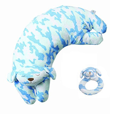 Angel Dear Ring Rattle And Curved Pillow Blue Camo Puppy Set