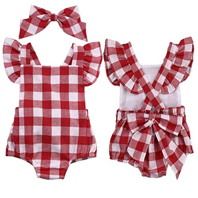 Baby Girls Clothes, Feitong Toddler Newborn Baby Girl Cotton Bowknot Clothes Bodysuit Romper Jumpsuit Outfit Set (0-3 Months, Red)