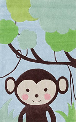 The Rug Market Kids Rugs Jungle Mania, Blue/Brwn/Grn, 2.8 X 4.8