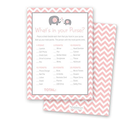 24 Chevron Elephant Baby Shower What'S In Your Purse Game Cards (Pink)
