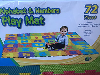 Funplay Alphabet & Numbers Play Mat 72 Pieces By Microban (6 Ft X 6 Ft)