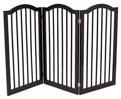 Internet'S Best Pet Gate With Arched Top | 3 Panel | 36 Inch Tall Fence | Free Standing Folding Z Shape Indoor Doorway Hall Stairs Dog Puppy Gate | Fully Assembled | Espresso | Mdf