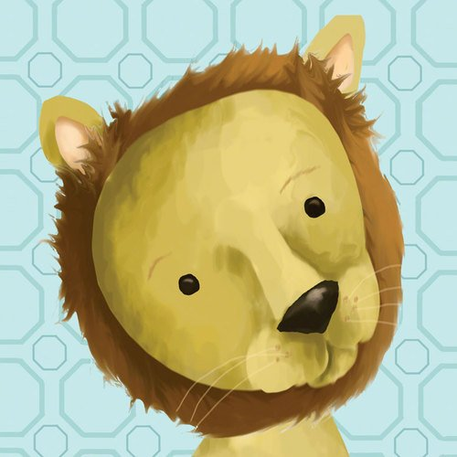 Oopsy Daisy Rauri The Lion Powder Blue Stretched Canvas Wall Art By Meghann O'Hara