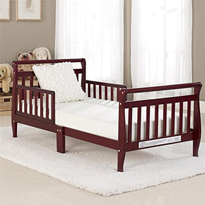 Big Oshi Classic Sleigh Design Modern Toddler Bed - Cherry