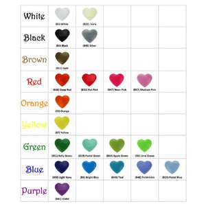 100 Glossy Pastel Green (B19) Heart Shaped Kam Plastic Resin Snaps Craft Baby Bib Cloth Diaper