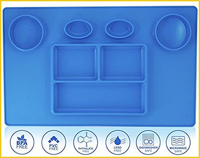 Bellee Silicone Placemat One-Piece Non Slip Silicone Child Kids Safe Baby Food Plate Divided Eating Bowl Tray Placemat - One Size - (Blue)