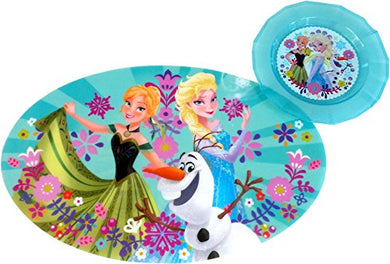 Disney Store Meal Time Magic Bundle - Frozen Oval Place Mat And 8.5  Plate