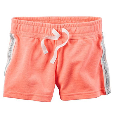Carters Baby Girls Sparkle Side Stripe Neon French Terry Shorts Peach 18M