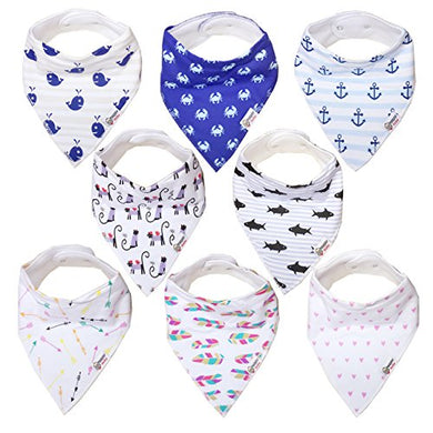 Baby Bandana Drool Bibs For Drooling And Teething, 100% Cotton Bandana Baby Bibs Gift Set For Boys &Amp; Girls, Absorbent Washable Comfortable And Adjustable Neckerchief (Bc071)