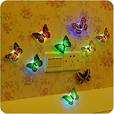 Creative Color Changing Abs Butterfly Led Night Lights Lamp Beautiful Home Decorative Wall Nightlights (Random)