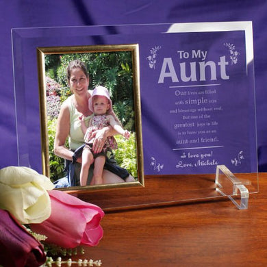My Aunt Frame Beveled Glass, Holds 4 X6  Photo, Engraved