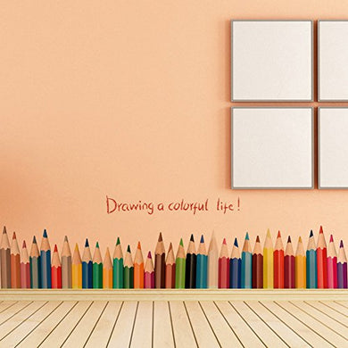 Wallpark Artistic Colored Pencils Baseboard Removable Wall Sticker Decal, Children Kids Baby Home Room Nursery Diy Decorative Adhesive Art Wall Mural