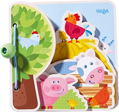 Haba Farm Friends Wooden Book With Easy Turn Pages - Ages 10 Months And Up