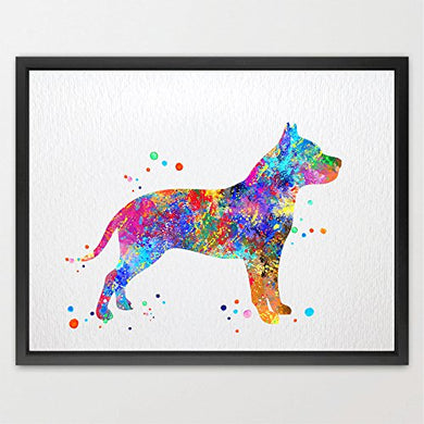 Dignovel Studios 8X10 Pitbull Dog Watercolor Print Wedding Gift Fine Art Print Children'S Wall Art Wall Decor Art Home Decor Wall Hanging N135