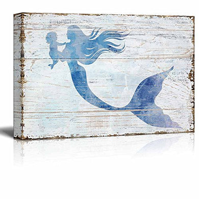 Wall26 - Canvas Wall Art - Mother Mermaid Holding Baby Mermaid | Maternal Love Theme Rustic Country Style Modern Giclee Print Ocean Theme Gallery Wrap Home Decor - 36  X 24