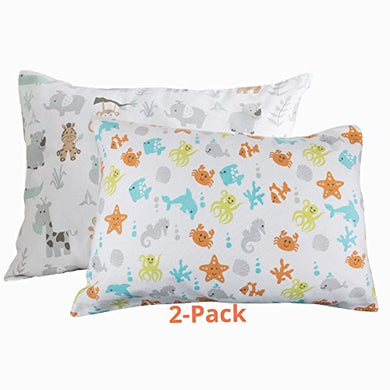 Bb My Best Buddy Toddler Pillowcase- Safari And Ocean Animals - - 100% Cotton - Ocean And Safari Animals For Your Kids - 13 X 18 Shrinks To Fit -Envelope Style Closure - Designed In Usa