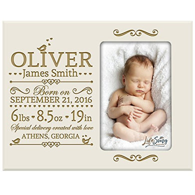 Lifesong Milestones Personalized New Baby Birth Announcement Picture Frame For Newborn Boys And Girls Custom Engraved Photo Frame For New Mom And Dad Parents And Grandparents (Ivory)