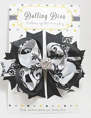 Dolling Diva Girls Boutique Hair Bows/Hair Clip (Black Flora)