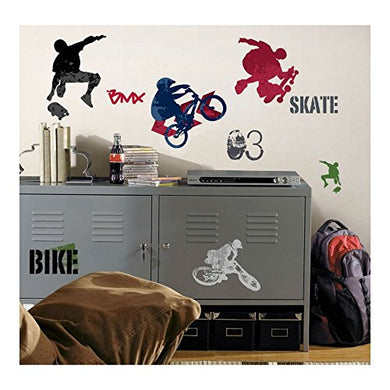 25 New Extreme Sports Wall Decals Skateboarding Biking Stickers Boys Room Decor U.S Top Seller