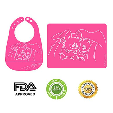 Easy Clean Silicone Bib &Amp; Mat Package For Baby Feeding Easily Wipes Clean! Comfortable Soft Baby Bibs Keep Stains Off! Spend Less Time Cleaning After Meals With Babies Or Toddlers! (Pink)