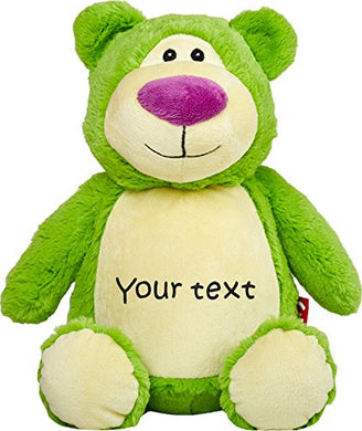 Personalized Stuffed Lime Bear With One Line Of Embroidery
