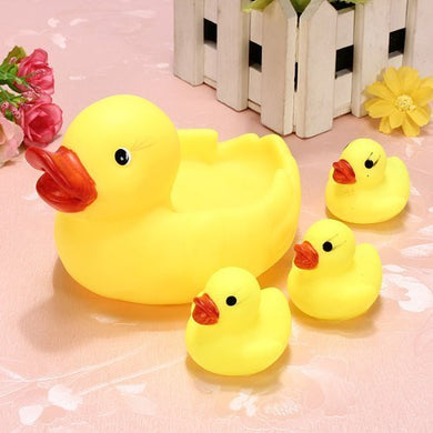 Rainbowkids A Set Of 4 Pcs New Arrival Child Baby Bath Toys ,Water Floating Squeaky Yellow Rubber Ducks,Speical Gifts For Child&Amp;Baby.