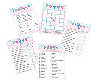 Lillian Rose Baby Gender Reveal Shower Game Cards, Pink/Blue/White, 5  X 7