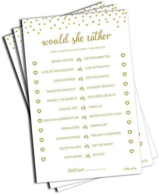 50 Would She Rather Game - Gold Dot (50-Sheets) Bridal Wedding Shower Or Bachelorette Party Game, Printed Engagement Rehearsal (Large Size Sheets)