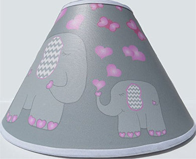Pink Elephant Lamp Shade With Hearts And Butterflies/Jungle Safari Elephant Nursery Decor