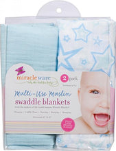Load image into Gallery viewer, Miracleware Muslin Swaddle Blanket, Blue Stars, 2 Piece