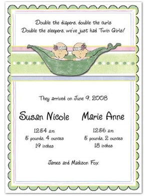 3D 2 Peas In A Pod Girls Twins Birth Announcements - Set Of 20