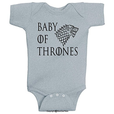 Baby Of Thrones Stark Winter Is Coming Romper Funny Onesie By Beegeetees (6 Months, Gray)