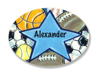 The Kids Room By Stupell Alexander, All Star Sports Personalized Oval Wall Plaque