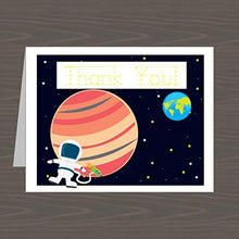 Load image into Gallery viewer, Astronaut Thank You Notes For Kids, Astronaut Thank You Cards, Astronaut Stationery Set | (12) Top-Folding Note Cards And Envelopes Included | Traceable Message Inside