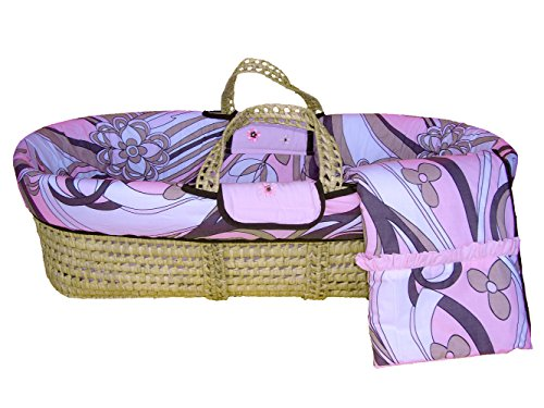 Bacati Retro Flowers Moses Basket, Pink/Chocolate