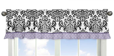 Sloane Lavender Purple White Polka Dot And Damask Window Valance