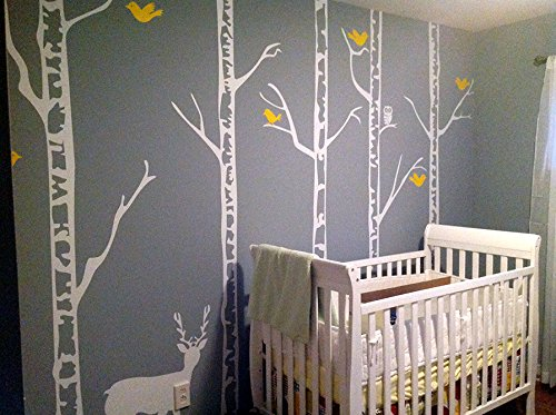 Popdecors - Trees Wall Decal Nursery Deer Baby Decal Winter Trees Wall Mural - Winter Cool Forest With Deer (90 Inch H) Pt-0189-2