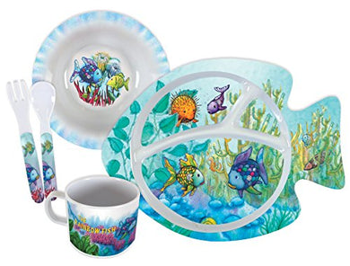 Stephan Baby Rainbow Fish 5 Piece Melamine Dinnerware Set