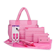 Load image into Gallery viewer, Cipu Ct-Bag 2.0 Eco 9 Pieces Diaper Bag Tote Combo Set (Pink Polka Dots)
