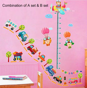 Wall Decor Removable Decal Sticker -Transportation, Happy Baby Height Measure Growth Chart