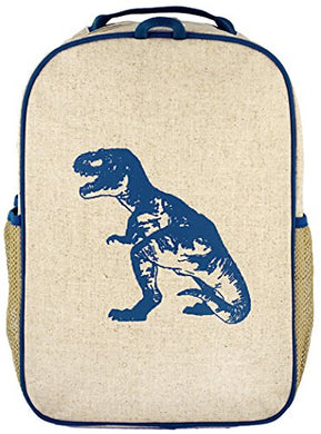 Soyoung Grade School Backpack - Raw Linen, Eco-Friendly, Non-Toxic, Retro-Inspired Design - Blue Dinosaur