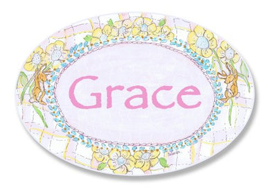 The Kids Room By Stupell Grace, Bunnies Playing With Flowers Personalized Oval Wall Plaque