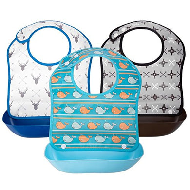 Ava &Amp; Kings 3Pc Boys Foldable Waterpoof Baby Bibs With Detachable Food Catcher