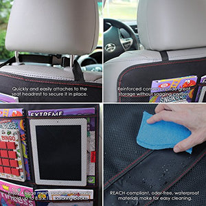 Kick Mats  - Car Seat Back Protectors With Odor Free, Premium Waterproof Fabric, Reinforced Corners To Prevent Sag, And 4 Mesh Pockets For Large Storage