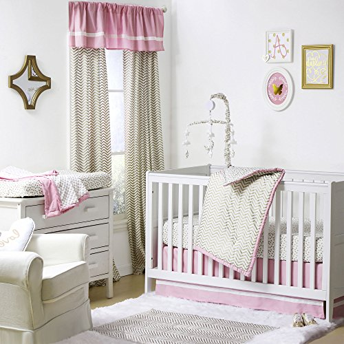 Gold And Pink Chevron And Dots 3 Piece Baby Crib Bedding Set By The Peanut Shell