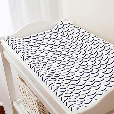 Carousel Designs White And Navy Waves Changing Pad Cover - Organic 100% Cotton Change Pad Cover - Made In The Usa