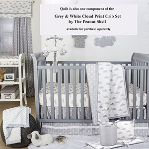 Grey On White Cloud Design Baby Crib Quilt By The Peanut Shell