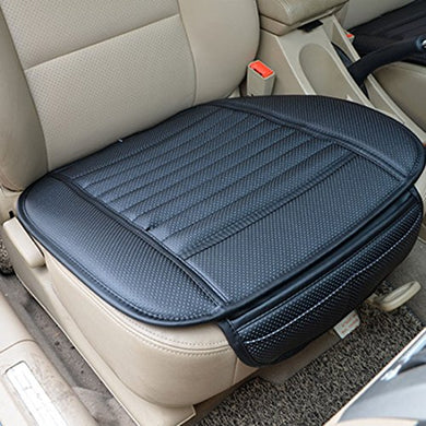 Car Seat Cover, Peleustech Four Seasons Pu Leather Bamboo Charcoal Breathable Comfortable Car Seat Cushion Cover Pad Mat For Auto Car Supplies Office Chair - Black